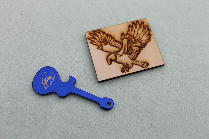 guitar and eagle Coated-Metal laser engraver