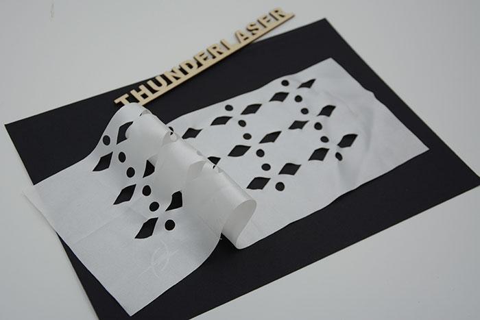 white Тканино-шкіряний лазерний різак