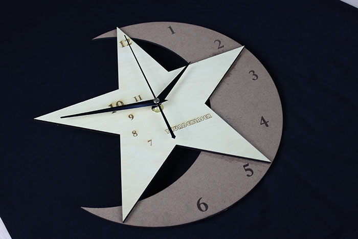 wood star clock Лазерний станок для фанери
