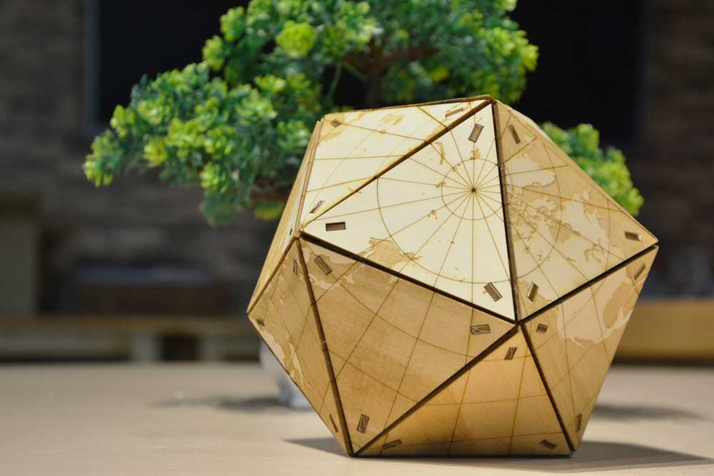 laser cutting wood globe